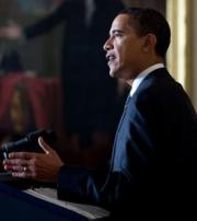 Barack Obama at Podium - White House Photo